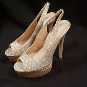 Shoe Dazzle Peep Toe Slingback Heels
